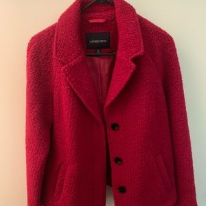 Lands End boiled wool jacket - red raspberry